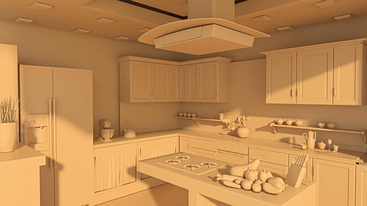 Kitchen Interior In Maya Sakshi Uchil Behance 3d Model Interior Vray