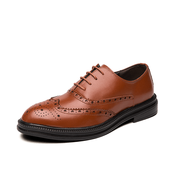 Casual Leather Brogue Fashion Business Office Shoes In