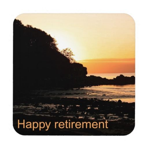 Happy retirement sunset in Scotland Coasters