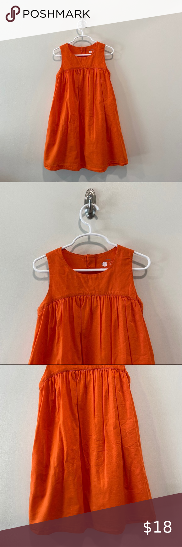 Primary Swing Dress In Orange Primary Swing Dress In Size 6 7 In A Soft Orange Zips Up The Back And Has Side Pockets But In 2020 Swing Dress Dresses Colorful Dresses