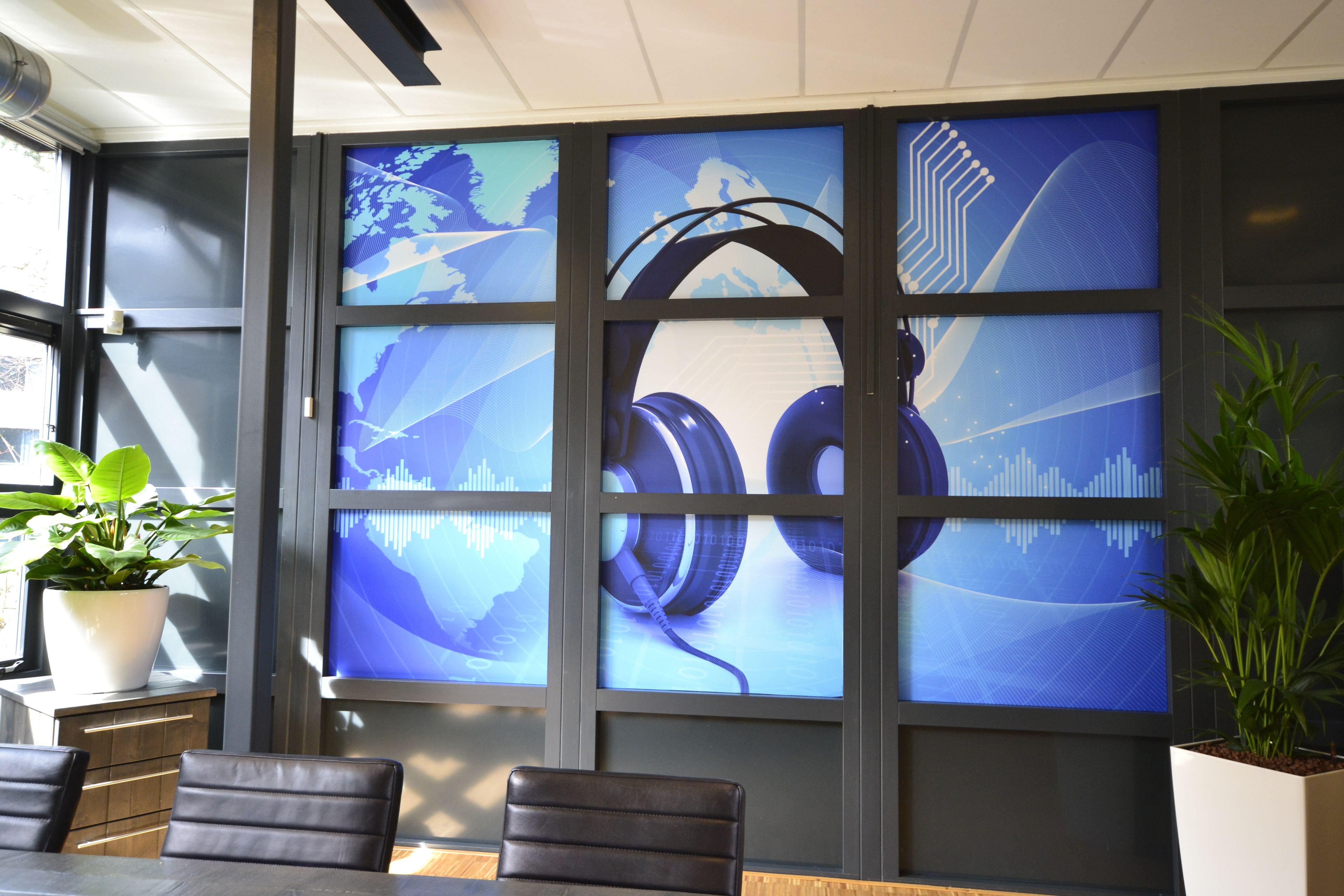 Office muziek kantoor muziek blauw behang decoration