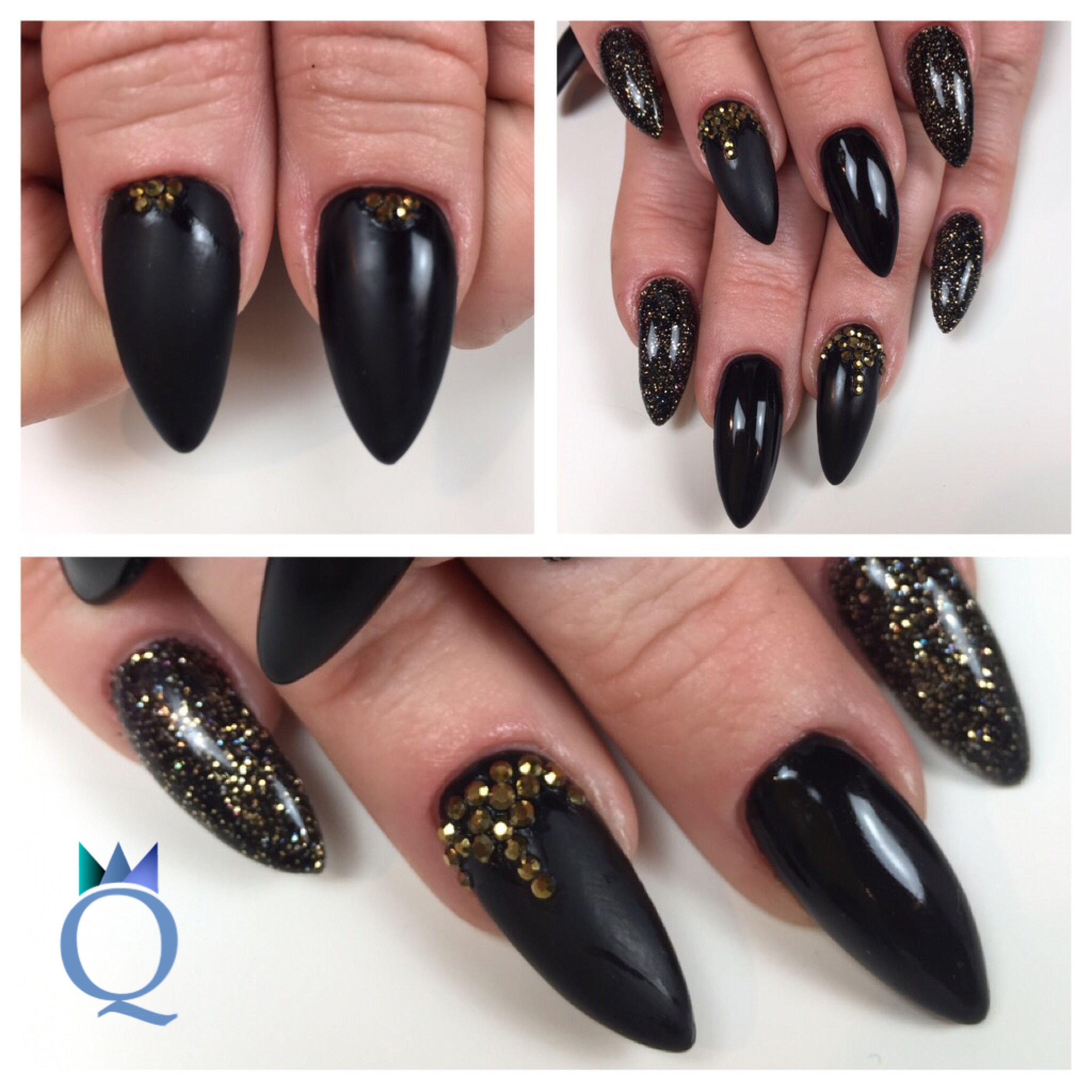 Amüsant Nägel Schwarz Matt Foto Von #almondnails #longnails #gelnails #nails #black #mat #glossy
