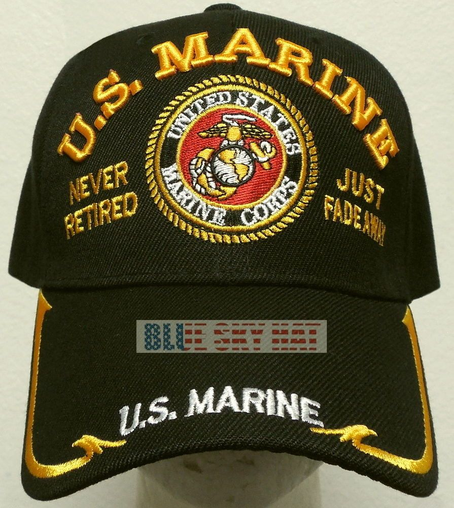 NEW US MARINE CORPS SIDE MESH USMC BALL CAP HAT BLACK