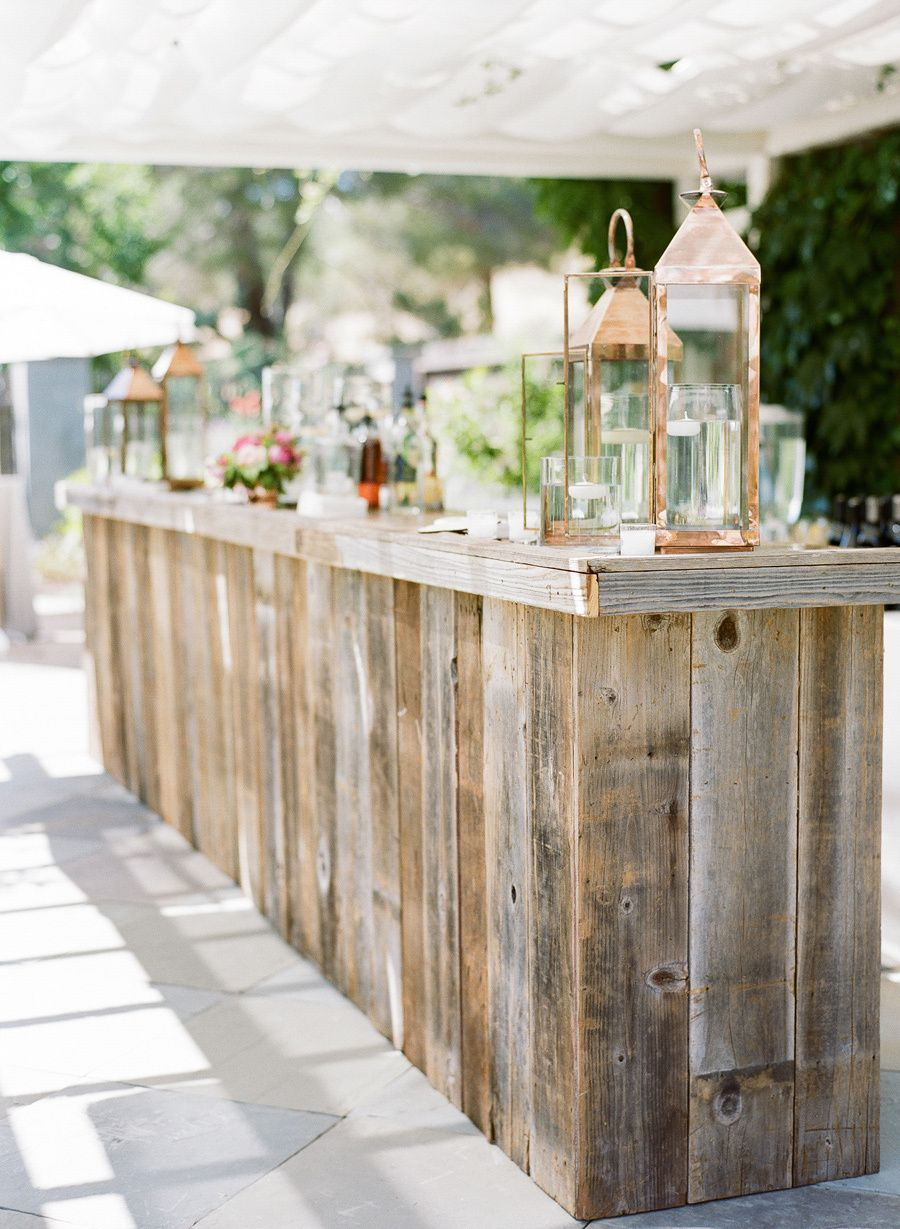 Reclaimed Wood Bar with antiqued copper top : Zephyr Tents | Shannon Leahy Events