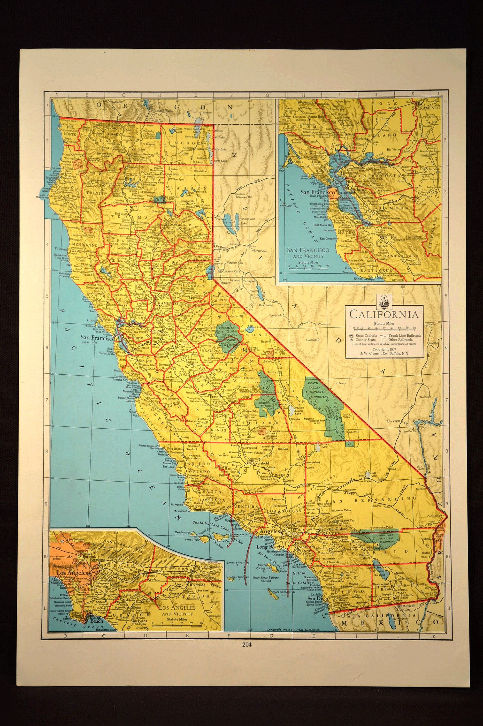 Colorful Yellow Vintage California Map California Colorful | Map ...