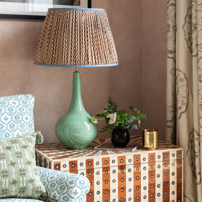 With Its Unique Curvy Teardrop Silhouette And Speckled Green Pattern This Quirky Lamp Base Is Perfect To Add In 2020 Silk Lampshade Ceramic Lamp Colorful Lamp Shades