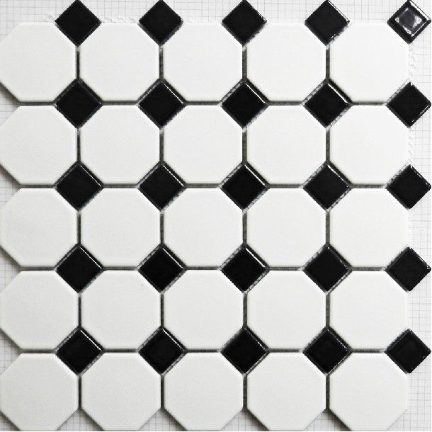 Mosaic Tile Matt Black And White Wall Floor Tiles Puzzle Parquet Bathroom Flooring Ceramic Mirror Kitchen Backsplash