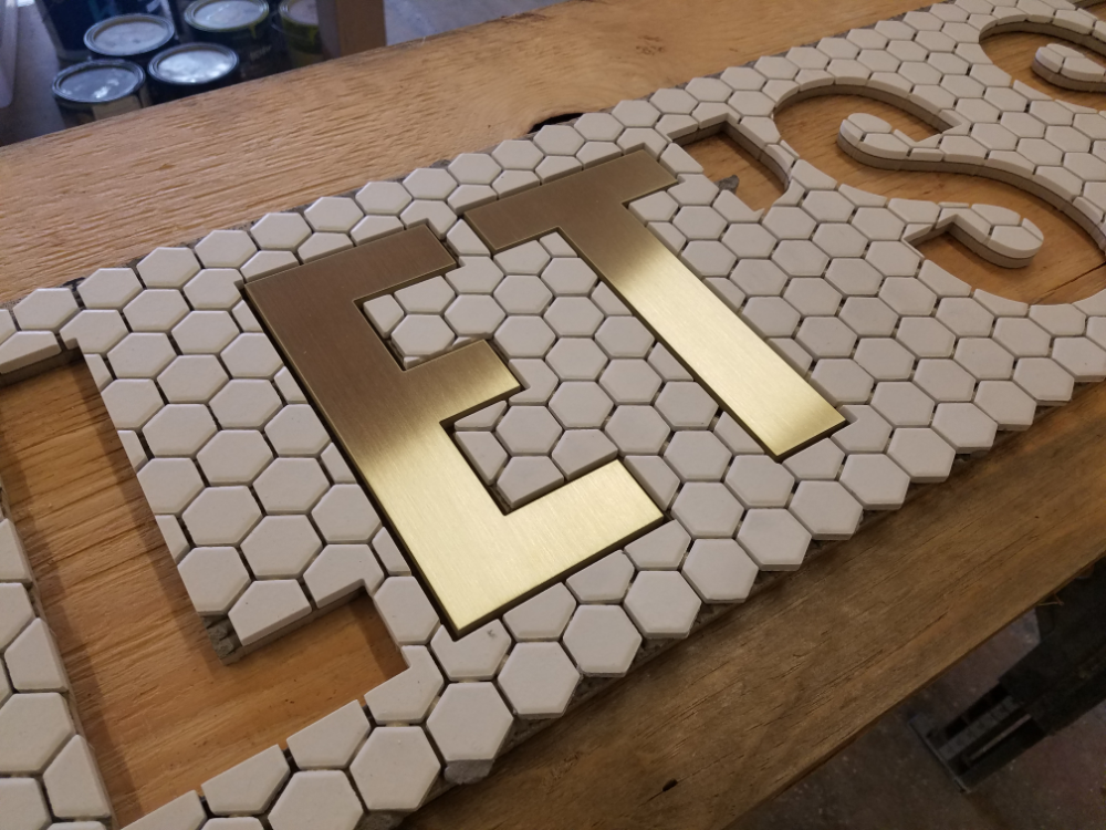 inlaid brass letters for floor tile