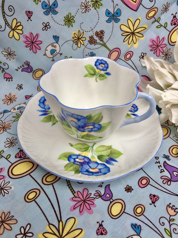 Shelley Morning Glory Tea Cup With Saucer Shelley Fine Bone China Vintage Shelleytea Set Bone China England Blue Flowers Tea Cup Flower Tea Tea Cups Shelley Tea Cups