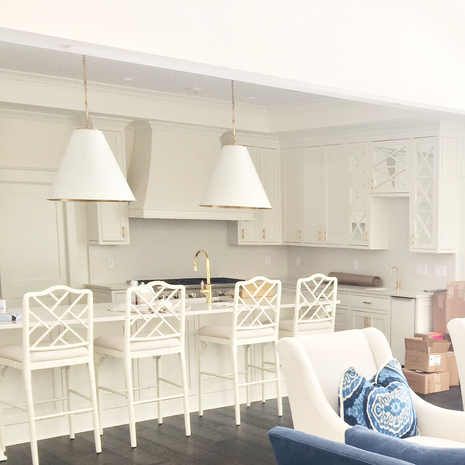 Best All White Kitchen With Chippendale Bar Stools And Brass 400 x 300