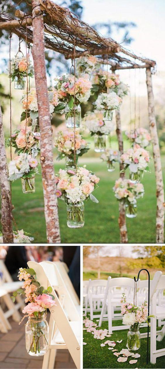 Tarros de cristal para bodas Decoración ceremonia boda Fiestas