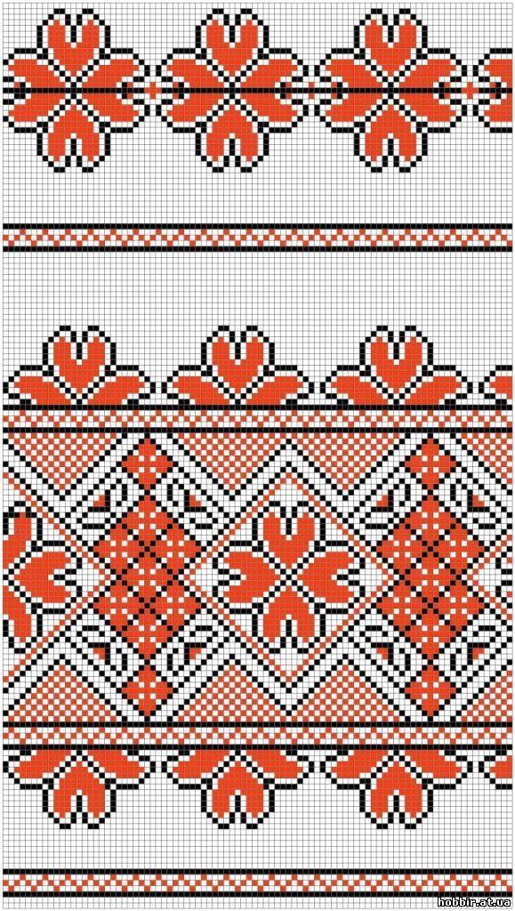 схема для вышивки рушника крестом
