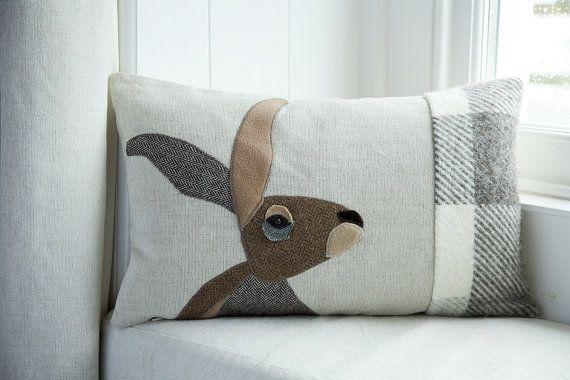 Handmade hare cushion with british tweeds pillows applique