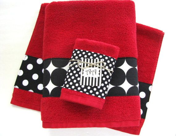 Red Black Bath Towels Bathroom Towel Hand By Augustave