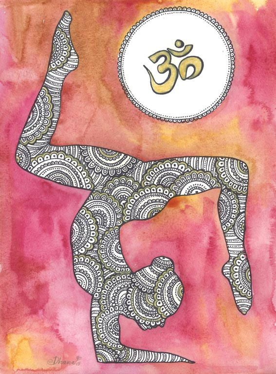 Golden Om Symbol Paisley Zentangle Painting Yoga Asana