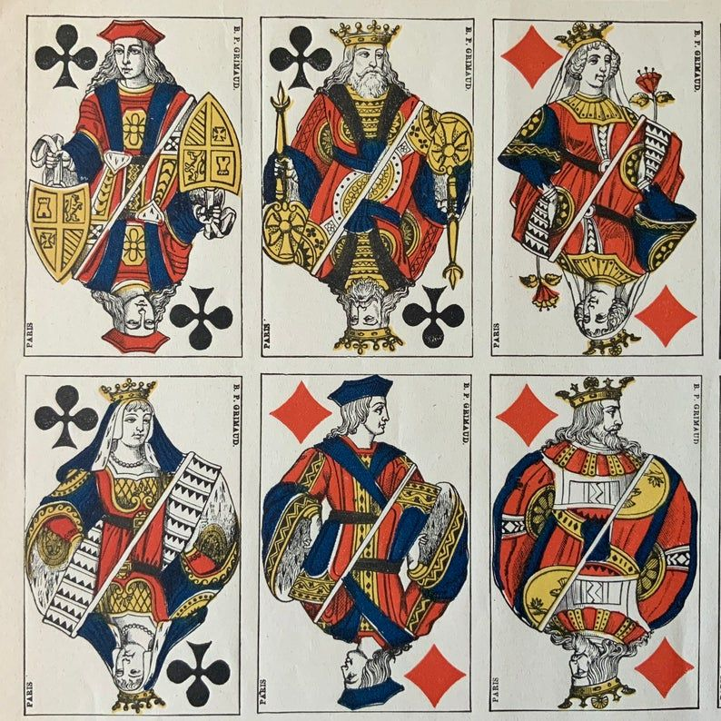 Antique 1900s genoese uncut italian playing cards sheet etsy