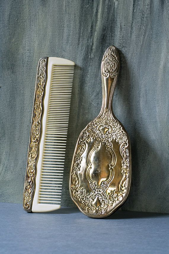vintage hairbrush and comb silver
