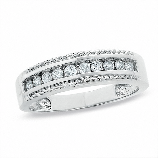 Ladies 1 4 Ct T W Diamond Wedding Band In 14k White Gold Diamond Wedding Bands Diamond Wedding Rings Body Jewelry Shop