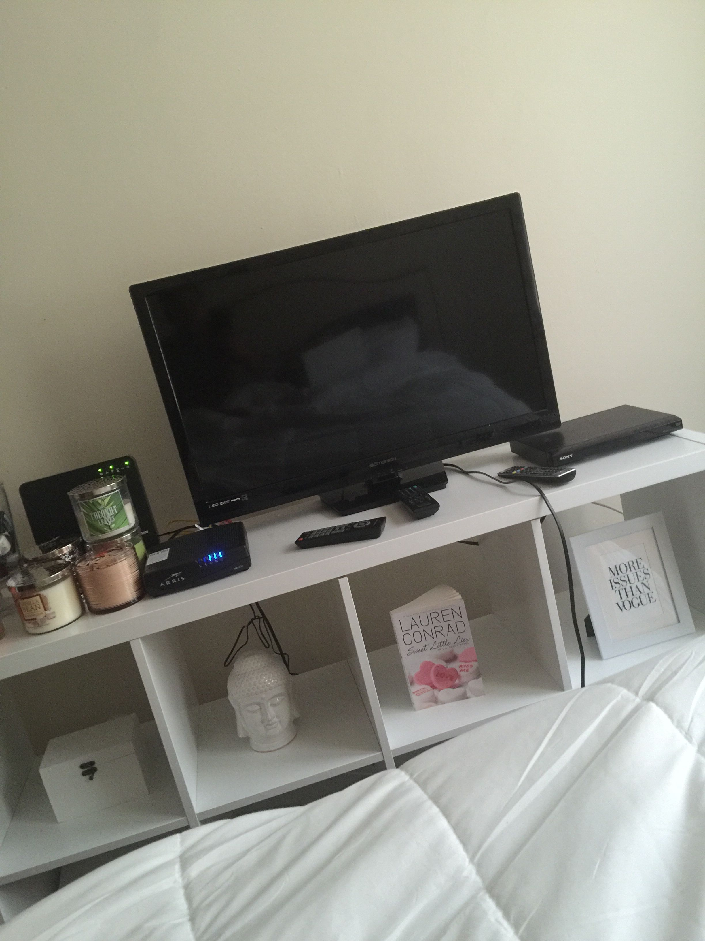 White Cube Storage As Tv Stand In 2019 Bedroom