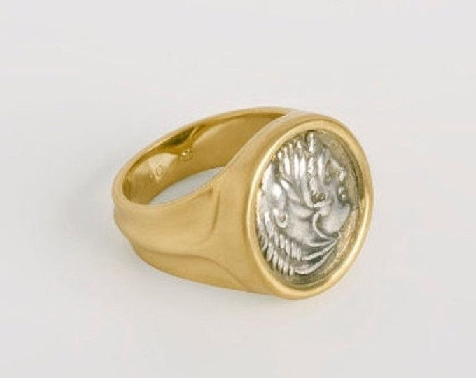 menu0027s antique coin ring size 775 alexander the great greek coin ring 18k yellow