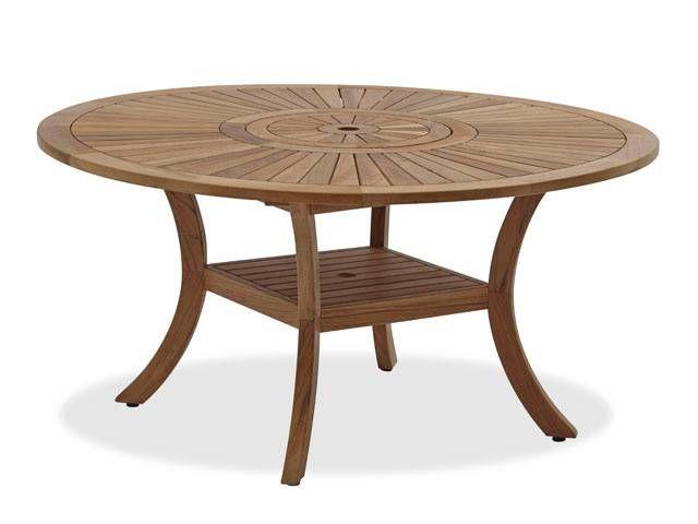 Westport 59 Round Teak Table With Lazy Susan Outdoor