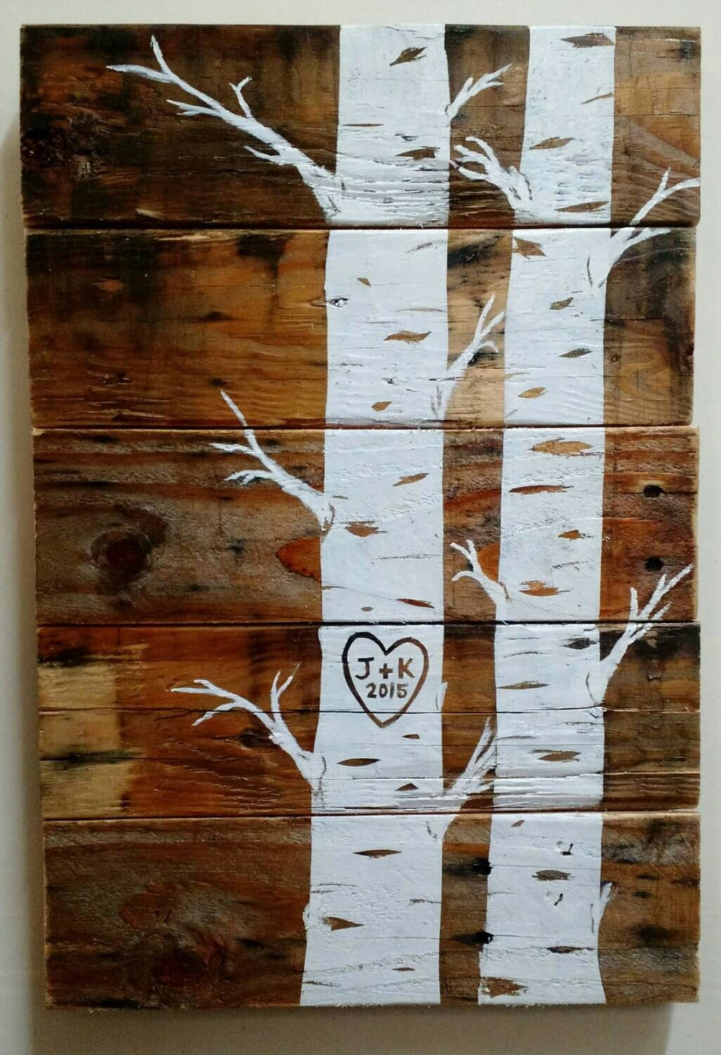 Custom quaking aspens with initials and date pallet art wood sign