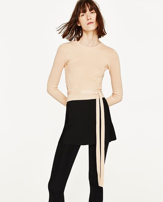 Image 1 of CROPPED SWEATER WITH RIBBON from Zara | MY STYLE ...