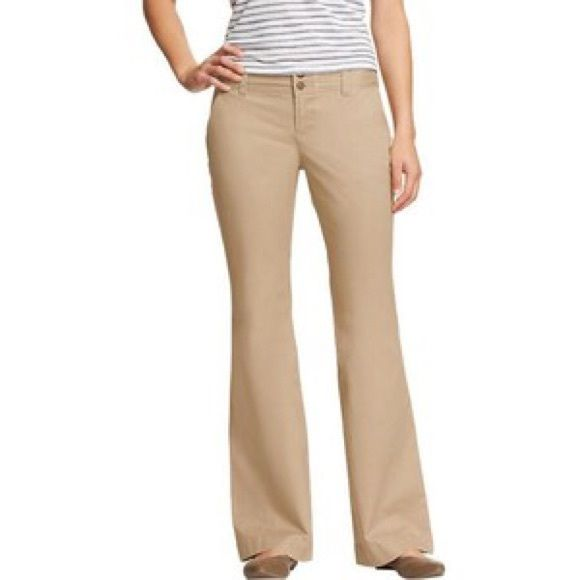 Old Navy Ultra Flared Perfect Khakis Regular length, extra coin pocket, low-rise, stretch cotton, in a dark-toned taupe khaki.  Slight wear on the bottom left hem as shown in photo.  Perfect for school or a business casual work environment! Old Navy Pants Boot Cut & Flare