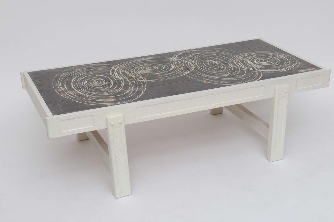 ... Oak and Tile Coffee Table by Juliette Belarti image 2 ...