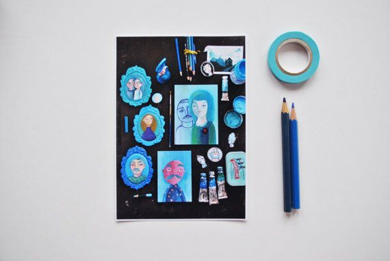 Blue collection print