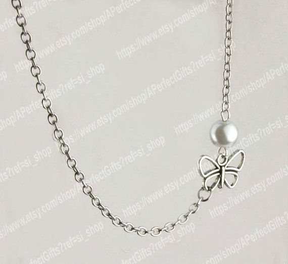 Butterfly necklace White pearls necklace Silver chain Delicate