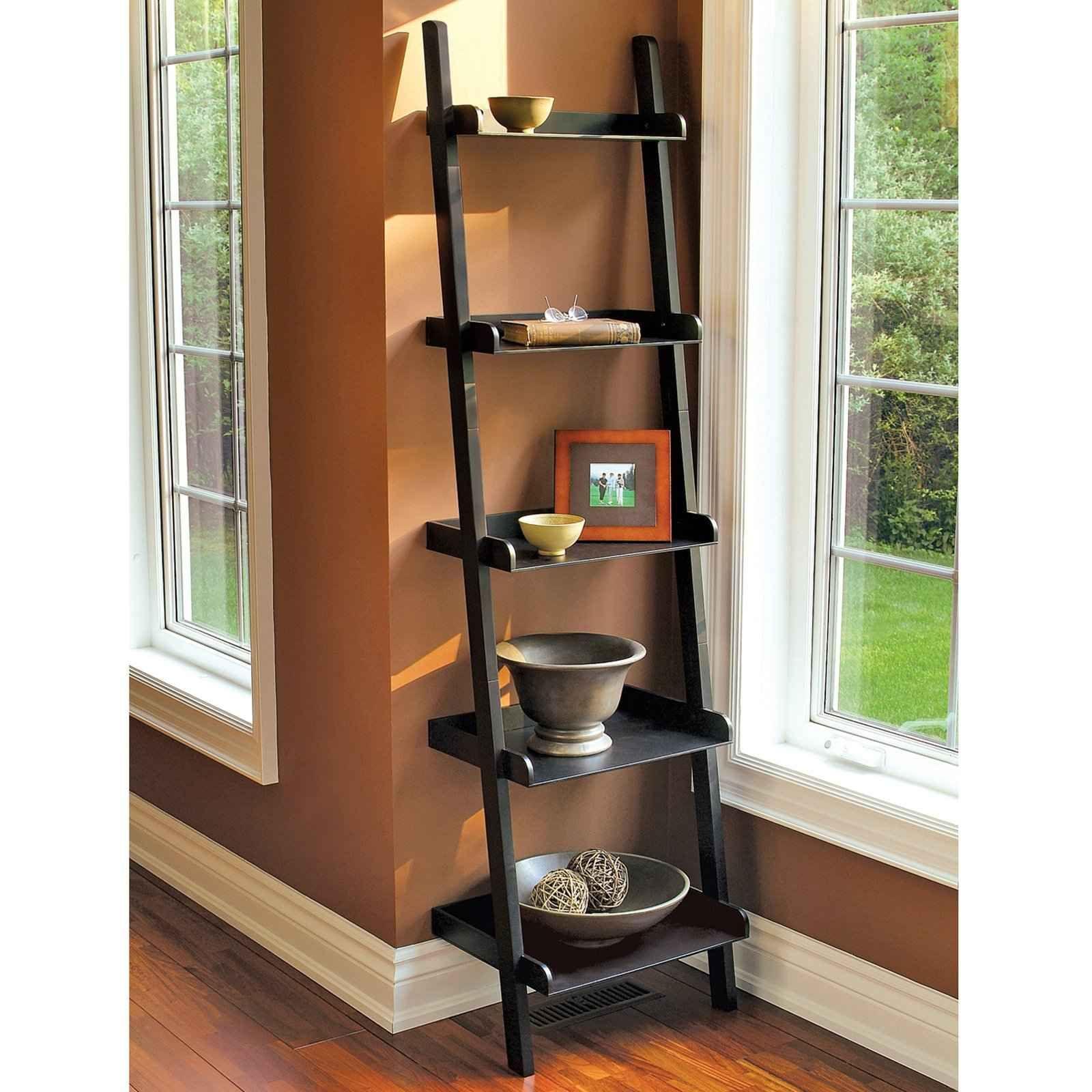 Design Wall Ladder Shelf ladder bookshelves leaning bookshelf plans for home office feel the home
