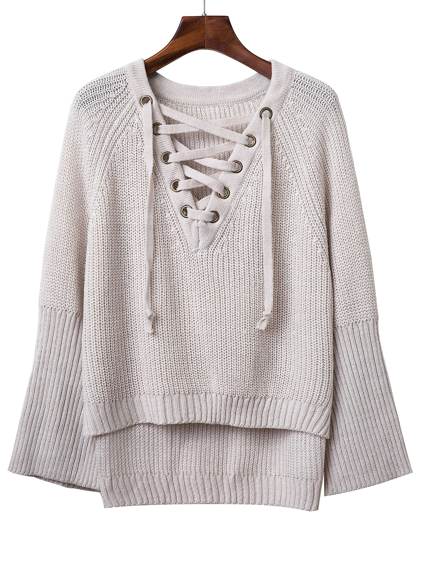 Jersey manga raglán escote V con cordón | Sweater | Pinterest | Ropa ...