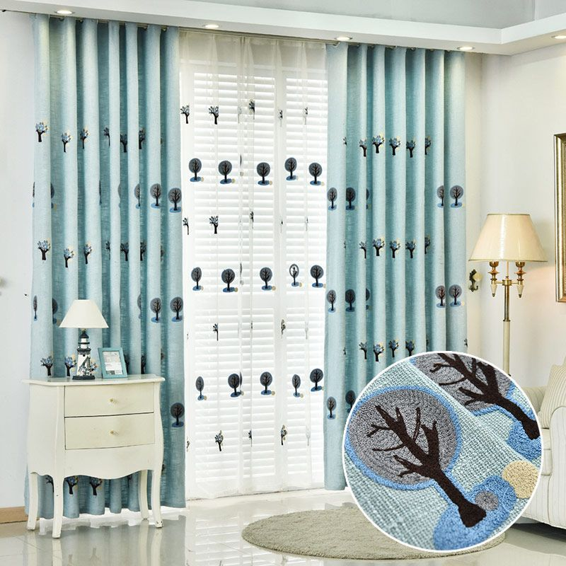 American Country Embroidery Cartoon Tree Curtain Bedroom Living Room Curtains Line And Matching Yarn Decorative