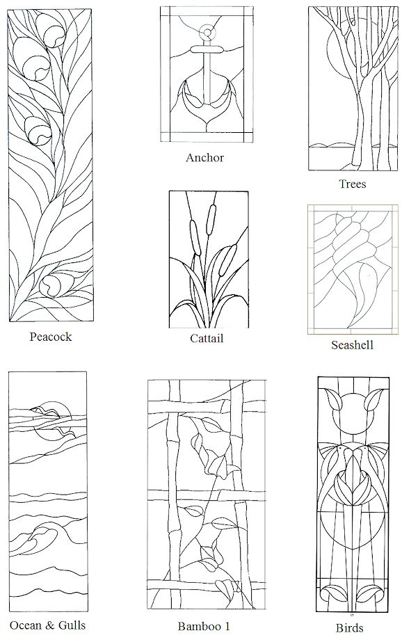 stained glass designs peacock anchor bamboo birds. Black Bedroom Furniture Sets. Home Design Ideas