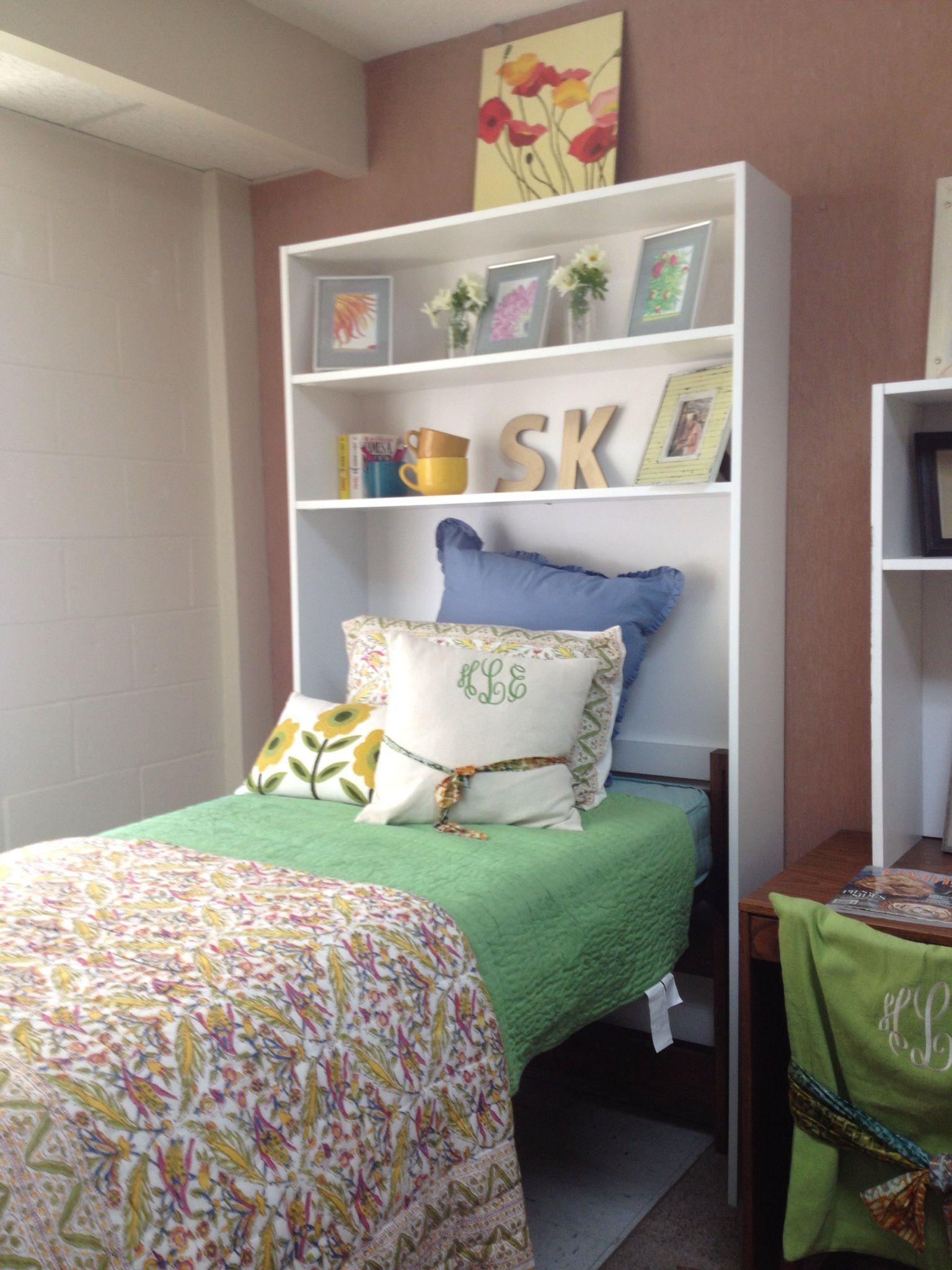 Use a bookshelf as a headboard just