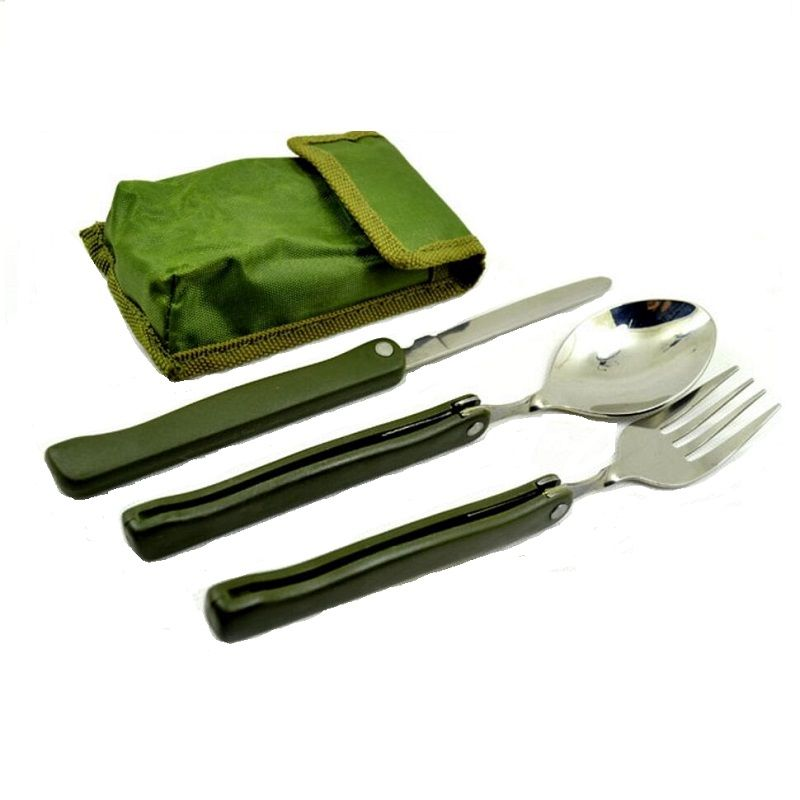 Portable folding outdoor camping spoon tableware stainless steel spoons with RA