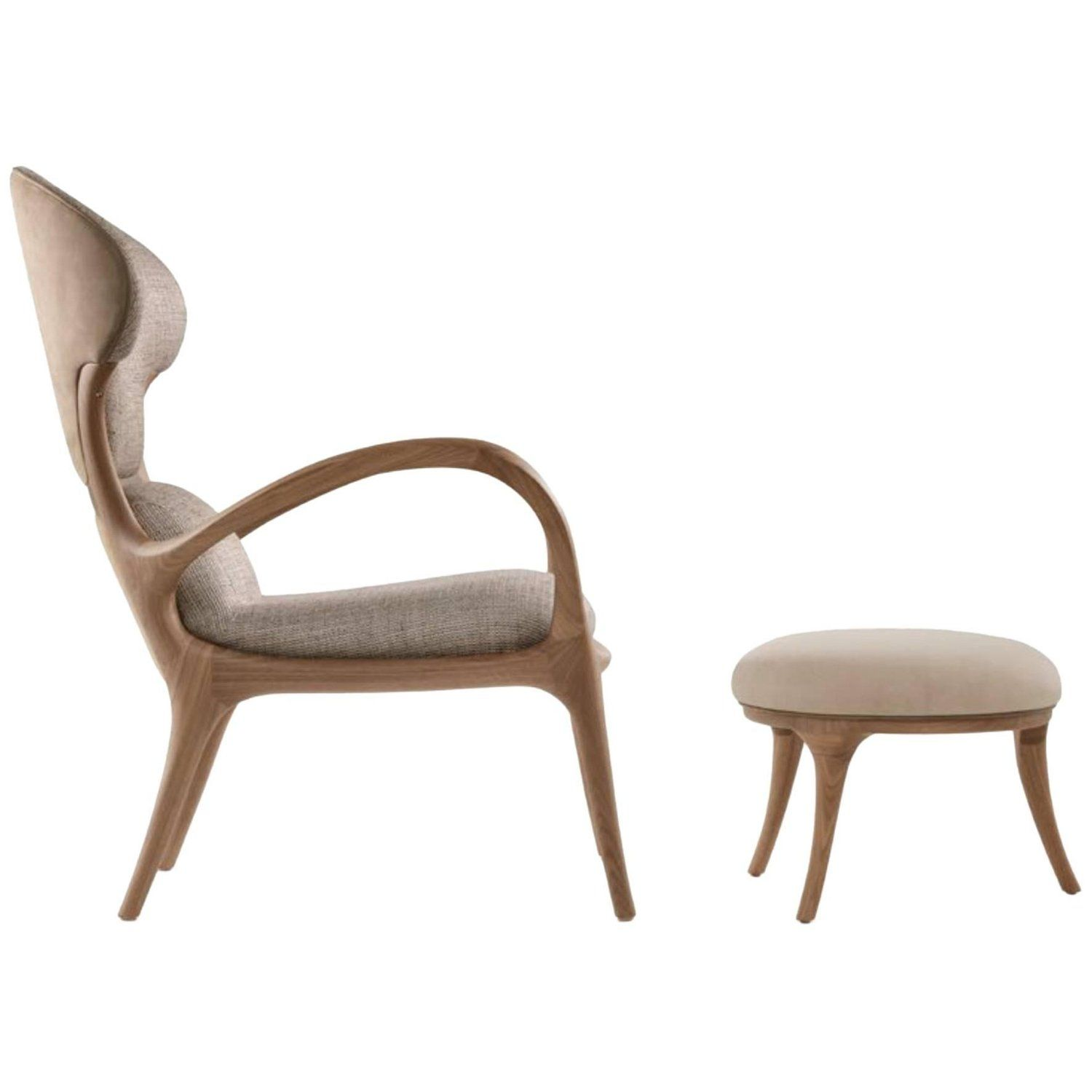 Saturn Armchair With Ottoman In Solid American Walnut And