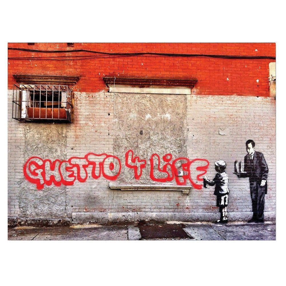 Trademark global banksy ustreet art is a crimeu canvas art