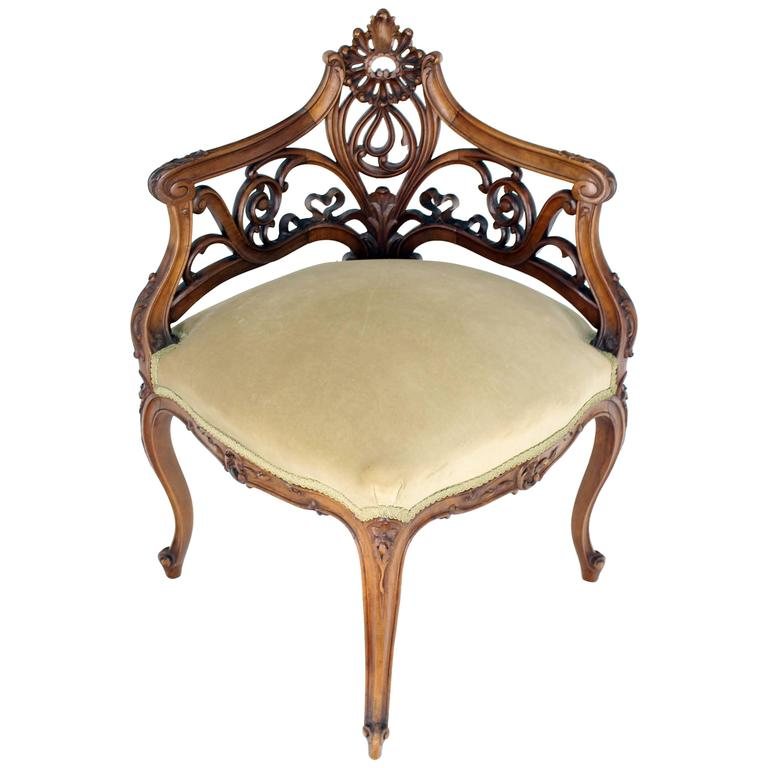 Carved Walnut Art Nouveau French Corner Chair Corner Chair