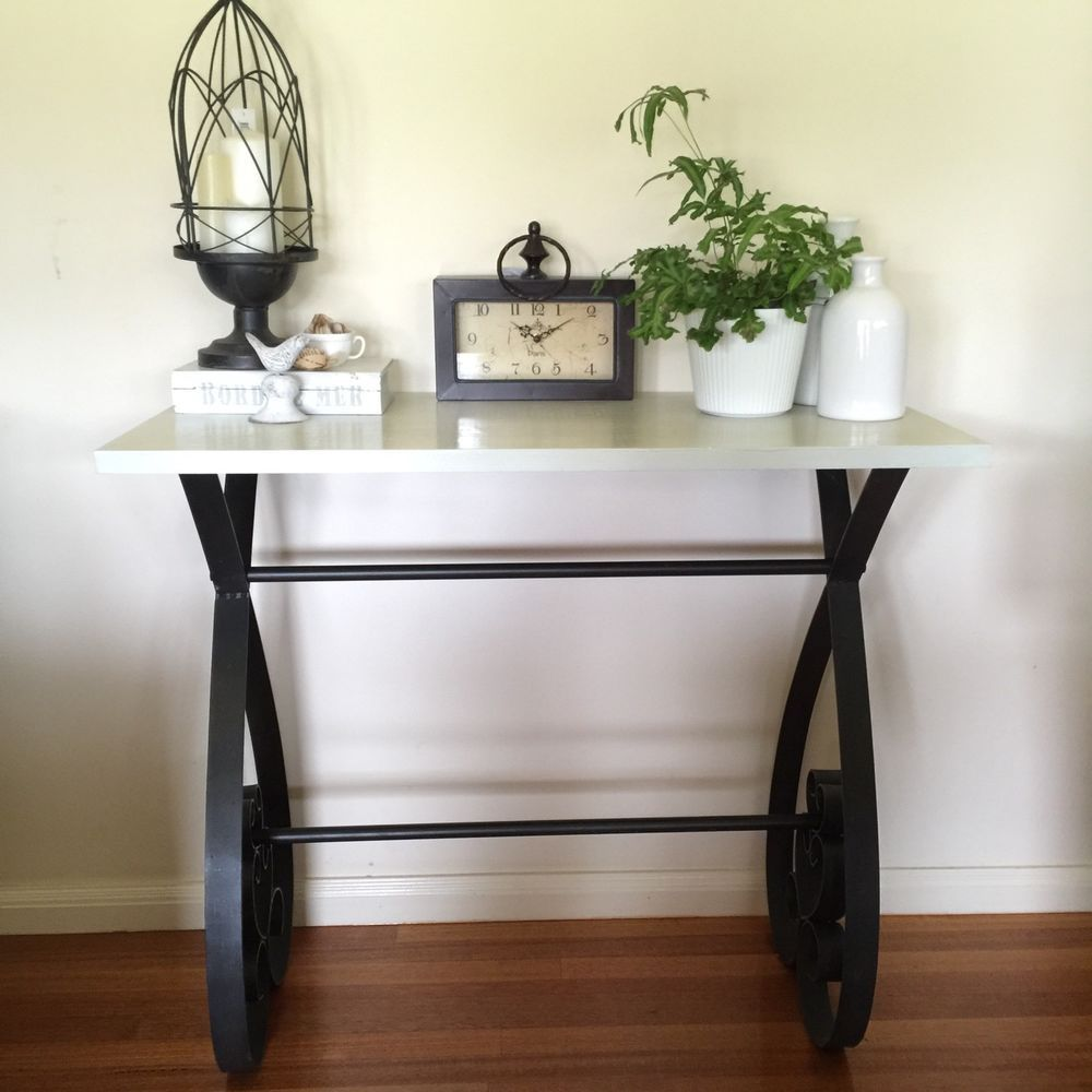 Metal Hall Table quality off white timber console with scrolling metal legs/desk