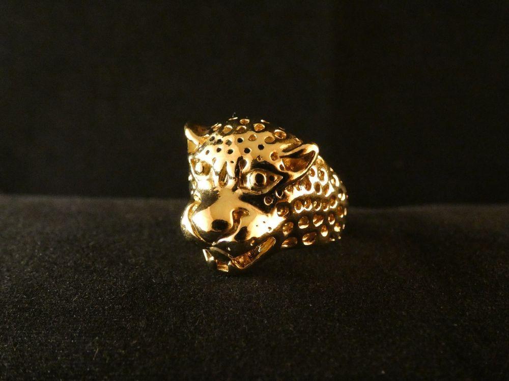 Details zu Biker Ring Leopard Tier 24 Karat Vergoldet Skull Fashion