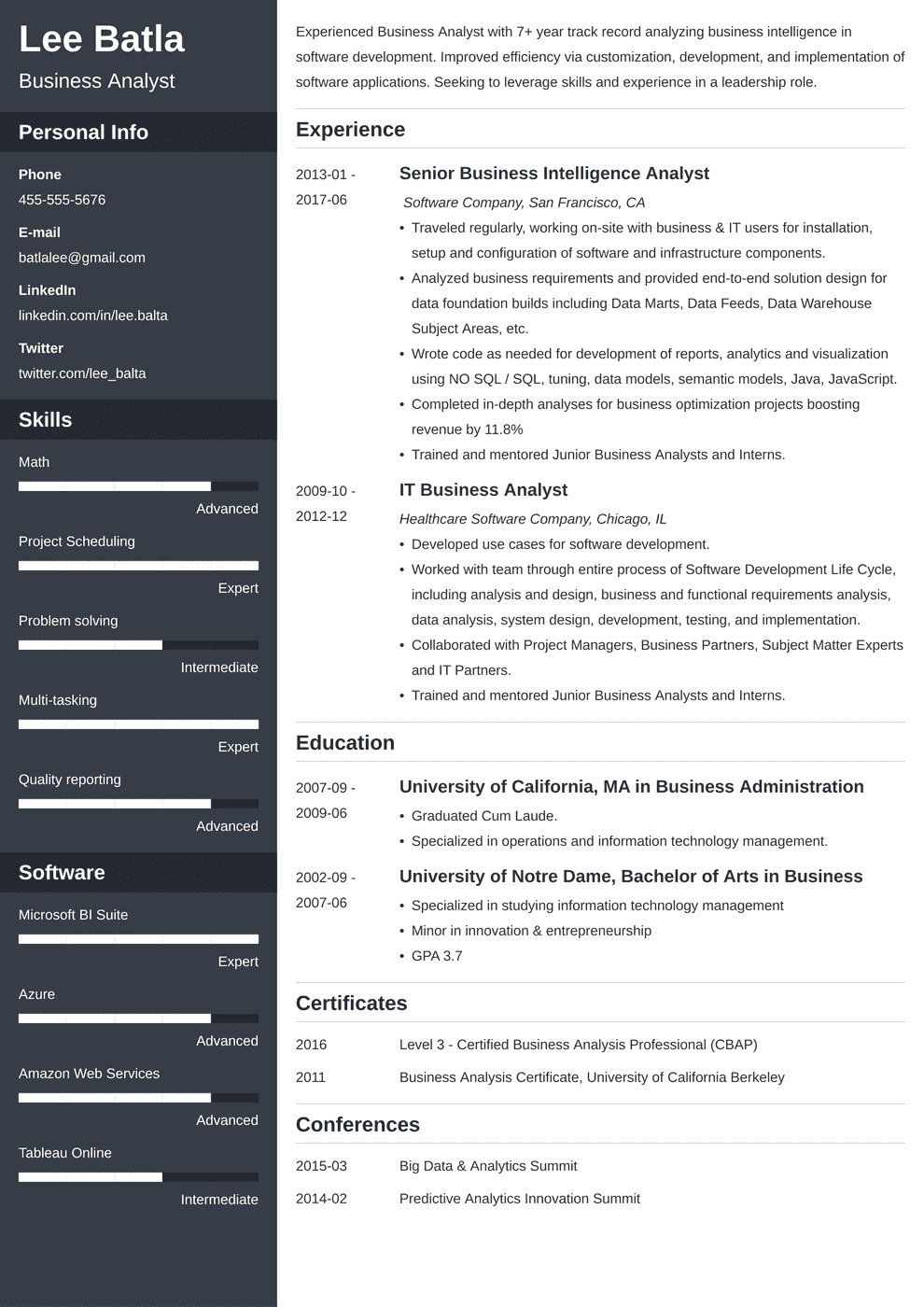 business analyst resume template cascade in 2020
