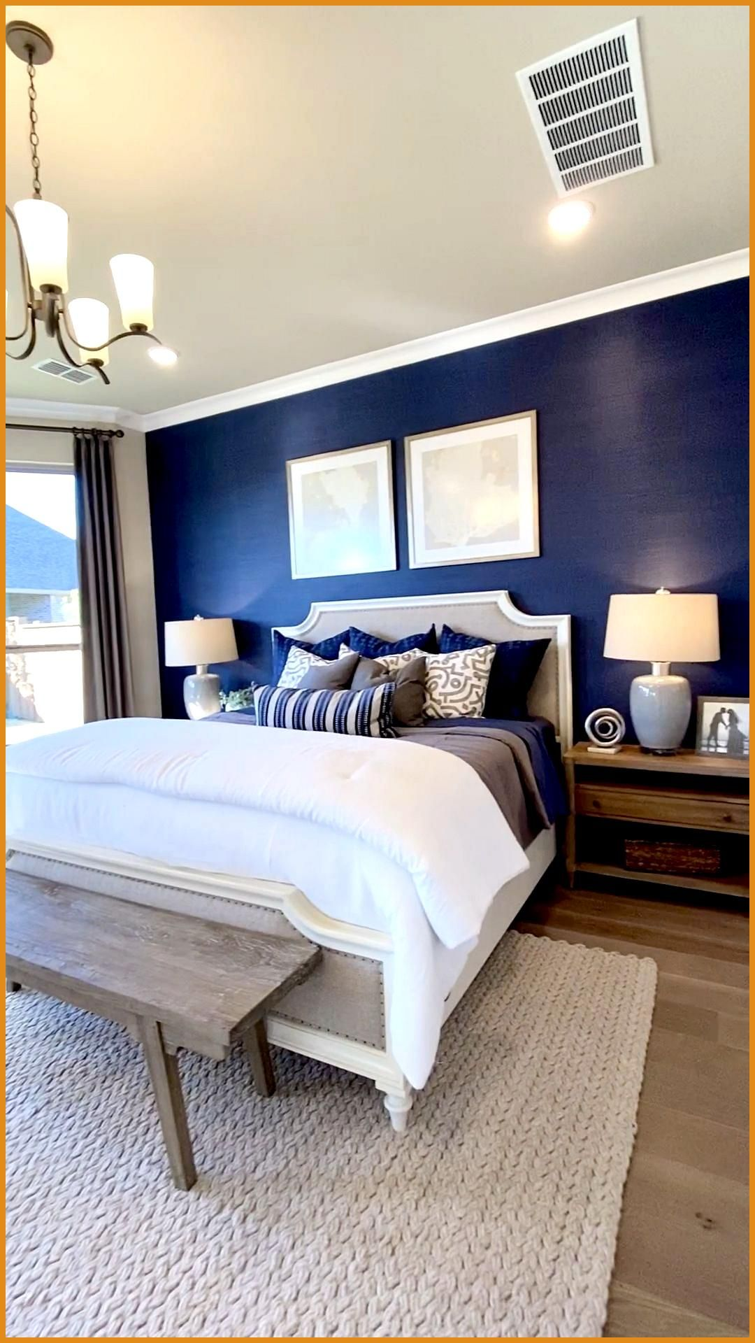 Master Bedroom With Blue Focal Wall In 2020 Blue Bedroom Walls