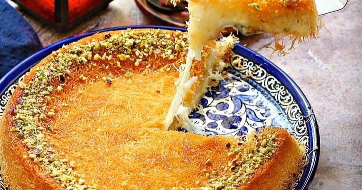 كنافة بالقشطة والجبن بالصور من Kitchen Maestro Nisreen Recipe Recipes Food Food Videos