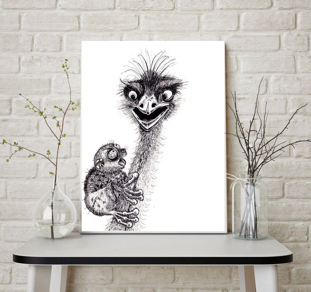 Black And White Wall Art Decor Funny Illustration Jungle Print