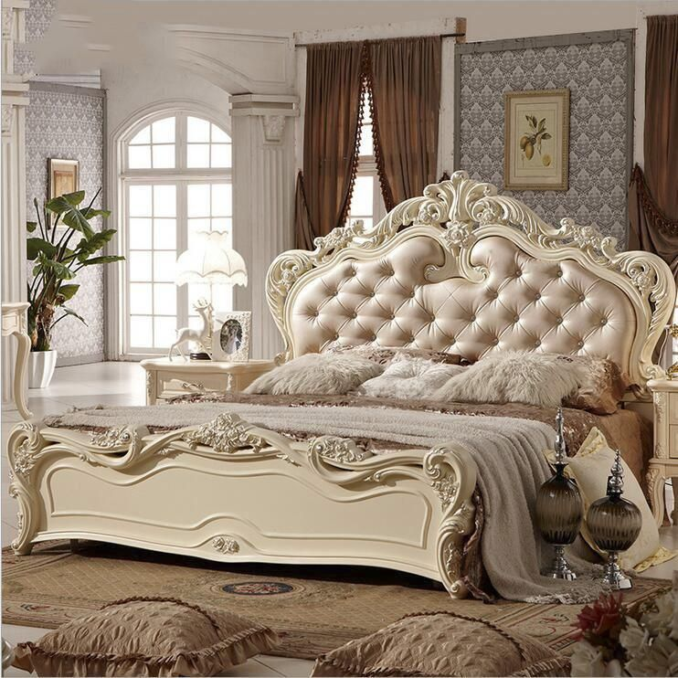 modern european solid wood bed Fashion Carved leather french bedroom
