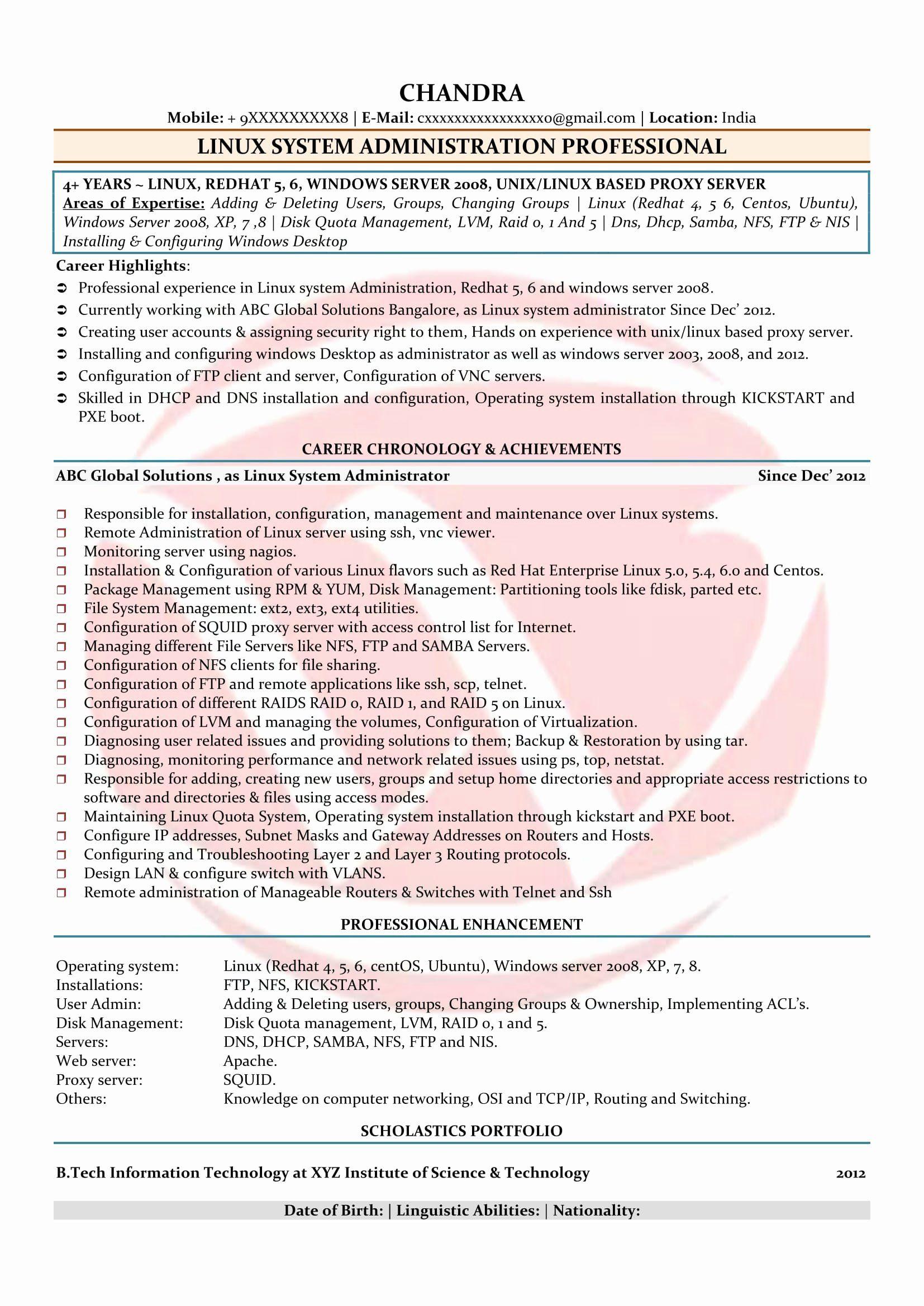 Entry Level Network Administrator Resume Elegant Linux Admin Sample Resumes Download Resume Format Templates In 2020 Resume Format Resume Format For Freshers Resume