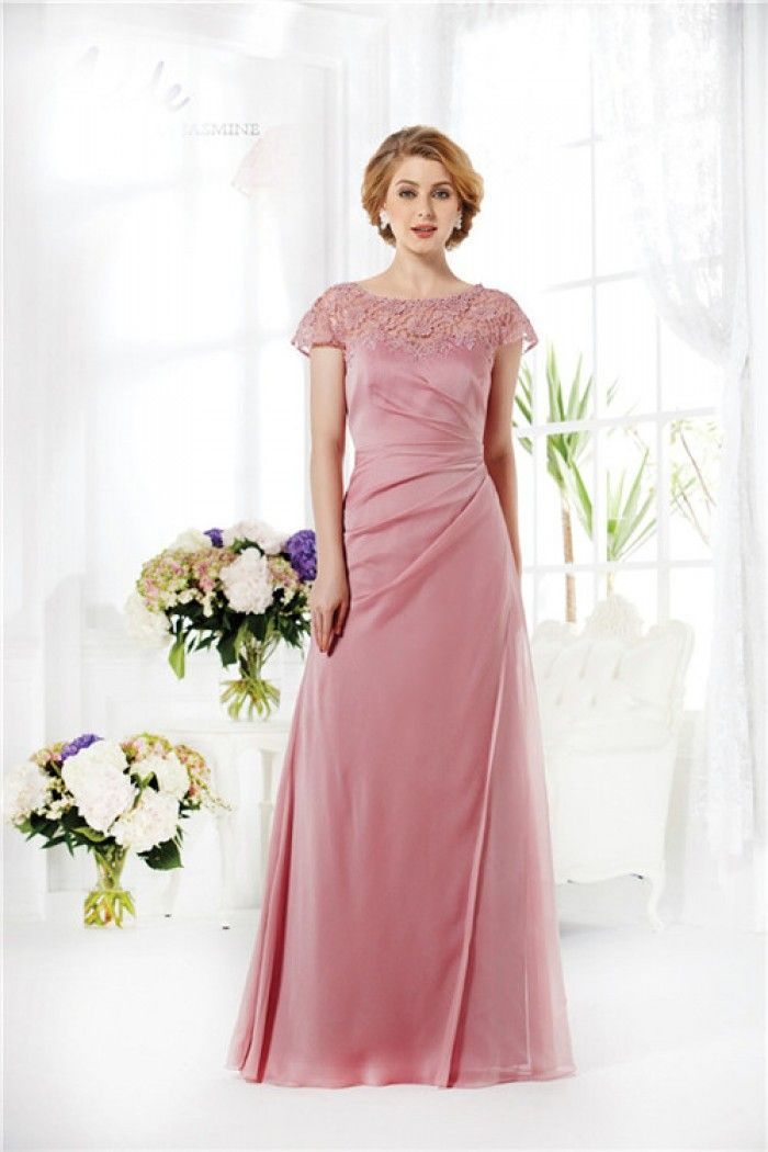 Sheath Cap Sleeve Long Dusty Rose Chiffon Lace Mother Of The Bride ...