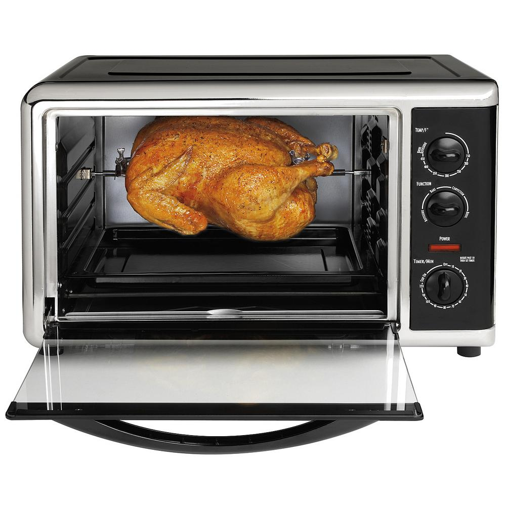 1500 W 12 Slice Black Toaster Oven With Rotisserie Countertop